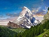 The Matterhorn or Monte Cervino mountain peak, Zermatt, Switzerland.
