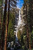 Yosemite Falls after a winter storm, Yosemite National Park, California USA.