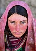 Portrait of a wakhi nomad woman, Big pamir, Wakhan, Afghanistan.