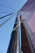 Low angle view of mast of a traditional German fishing boat