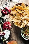 Bowl of tortilla chips and pico de gallo
