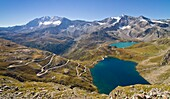 Europe, Italy, Piedmont, Levanne and Grand Aiguille Rousse, with Agnel and Serr? lakes, seen from Nivolet pass
