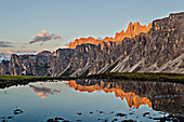 Lastoi de Formin, Croda da Lago, Giau Pass, Cadore, Dolomiti, Veneto, Italy, Sunset on Giau Pass