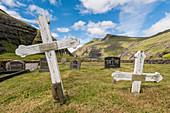 Saksun, Stremnoy island, Faroe Islands, Denmark, Old graves in the village's graveyard