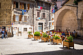 Scanno, Abruzzo, Central Italy, Europe, Relax near Sarracco fountain