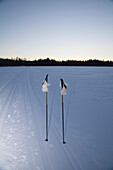 Ski poles and gloves in snowy landscape against clear sky at dusk