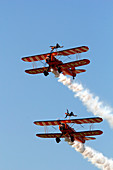 France, Seine et Marne (77). Meaux. Esbly. Meaux-Esbly Airfield, Air show, Boeing Steramn Wing Walkers doing acrobatics