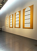 France, Aveyron, Rodez, Soulages museum, cardboards of stained glasses from the Conques abbatial church( RCR arquitectes)
