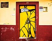 Madeira Island : Portao de Sao Thiago street, door of security guard