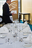 France, North-Western France, Machecoul, Louis Armand vocational college, preparing the Professional Baccalaureat, hospitality section, catering service, setting up the tables, October 2014.