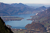 Lake Wolfgangsee seen from Mount Katrin, Bad Ischl, Salzkammergut, Upper Austria, Austria, Europe
