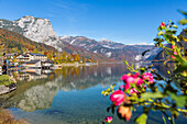 Lake Grundlsee and Hotel, view to Totes Gebirge, Bad Aussee, Styria, Austria, Europe