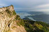Mount Schafberg, view to Lake Mondsee, St. Wolfgang, Upper Austria, Austria, Europe