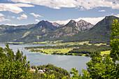 Lake Wolfgangsee, viewpoint Scheffelblick, Salzburg, Austria, Europe