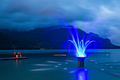 Fountain in Lake Wolfgangsee, St. Gilgen, Salzburg, Austria, Europe