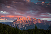 Last sunlight at Mount Grimming, seen from Tauplitzalm, Styria, Austria, Europe