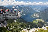 5-Fingers-viewpoint above Lake Hallstaettersee, Mount Krippenstein, Upper Austria, Austria, Europe