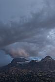 Thunderstorm above Mount Dachstein, seen from The Lodge at Mount Krippenstein, Upper Austria, Austria, Europe