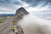 Mountaineers at Ramsauer Via Ferrata, behind Mount Eselstein, Dachstein area, Styria, Austria, Europe
