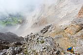 Mountaineers at Ramsauer Via Ferrata, Dachstein area, Styria, Austria, Europe