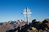 Summit cross on Knot's Peak, Stubai Alps, Stubaital, Tyrol, Austria, Europe