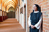 guided tour through the monastery, nun, Biosphere Reserve Schaalsee, Mecklenburg lake district, Zarrenthin, Mecklenburg-West Pomerania, Germany, Europe
