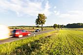 Straße zwischen Penzlin und Neustrelitz, Auto mit Campinganhänger, Camping, Feld, Abendlicht, Reise, unterwegs, Mecklenburgische Seenplatte, Mecklenburgische Seen, Neustrelitz, Deutschland, Europa