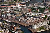 Aerial view of Delfshaven neighborhood, Rotterdam, Netherlands