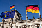 German and European Union flags at the Reichstag, Berlin, Germany