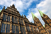 Detail of the Rathaus and St. Petti Dom, Marktplatz, Bremen, Germany