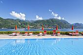 Swimming pool in Portese, view of Gardone Riviera by the Lake Garda, Northern Italien Lakes, Lombardy, Northern Italy, Italy, Southern Europe, Europe