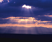 Sunrays, View on the Vosges mountains, Vosges, Black Forest, Germany