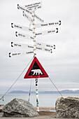 Achtung Eisbären - Warntafel beim Flughafen Longyearbyen, Spitzbergen, Svalbard