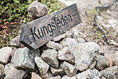 Sign to the Kungsleden trekking route, path. Laponia, Lapland, Sweden.