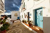 alley with blue door, Frigiliana, pueblo blanco, white village, Malaga province, Andalucia, Spain, Europe