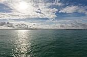 ferry from Puerto de Santa Maria to Cadiz, Cadiz on the horizon, Cadiz province, Andalucia, Spain, Europe
