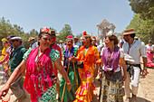 pilgrim women, El Rocio pilgrimage, Pentecost festivity, Huelva province, Sevilla province, Andalucia, Spain, Europe