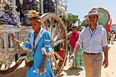 pilgrims at the Simpecado cart, El Rocio pilgrimage, Pentecost festivity, Huelva province, Sevilla province, Andalucia, Spain, Europe