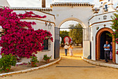 Gateway and chapel of a country Estate, El Rocio pilgrimage, Pentecost festivity, Huelva province, Sevilla province, Andalucia, Spain, Europe