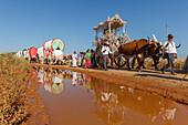 El Rocio pilgrimage with water reflection, Pentecost festivity, Huelva province, Sevilla province, Andalucia, Spain, Europe