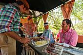 Snack in a trailer, El Rocio, pilgrimage, Pentecost festivity, Huelva province, Sevilla province, Andalucia, Spain, Europe