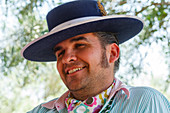 Pilgrim, man with sombrero hat, El Rocio, pilgrimage, Pentecost festivity, Huelva province, Sevilla province, Andalucia, Spain, Europe