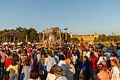 Simpecado cart, return to Sevilla, El Rocio, pilgrimage, Pentecost festivity, Huelva province, Sevilla province, Andalucia, Spain, Europe