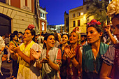 Women singing, return to Sevilla, El Rocio, pilgrimage, Pentecost festivity, Huelva province, Sevilla province, Andalucia, Spain, Europe