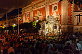 Simpecado cart, Iglesia del Salvador, return to Sevilla, El Rocio, pilgrimage, Pentecost festivity, Huelva province, Sevilla province, Andalucia, Spain, Europe