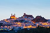 Castillo, Arab castle and church, Olvera, pueblo blanco, white village, Cadiz province, Andalucia, Spain, Europe