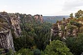 Rock formation Bastei, Saxon Switzerland National Park, Elbe Sandstone Mountains, Rathen, Saxony, Germany, Europe