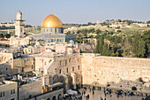 Temple Mount, Dome of the Rock, Redeemer Church and Old City in Jerusalem, Israel, Middle East
