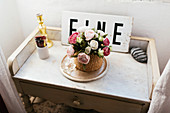 Roses on Shabby Chic Side Table, Casa Rosalie, Colle San Bartolomeo, Liguria, Italy, Europe