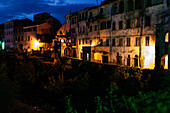 Dolcedo during Blue Hour, River Pino, Liguria, Italy, Europe